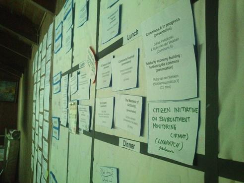 Camp Pixelache 2014 - Unconverence Presentation Session Schedule Board